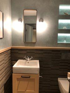 Elephant blanc salle de bains design niches bandeau led