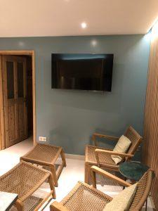 Elephant blanc salon cosy tendance bois tv télé télévision RJ45