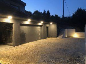 Maison cubes viviers éclairage extérieur rond nuit
