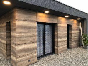 Maison cubes viviers éclairage extérieur spots ronds led avant toit