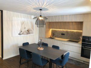 salle manger niche ruban led lustre design